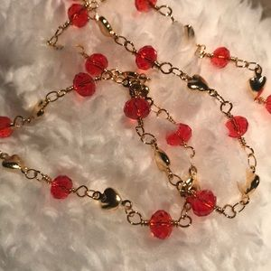 Hearts  & Beads Dainty Necklace NWOTS